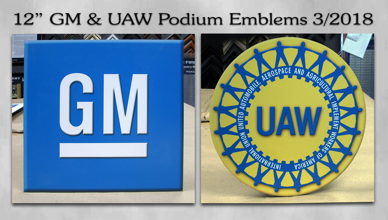 GM & UAW Podium Emblems from Badge Frame