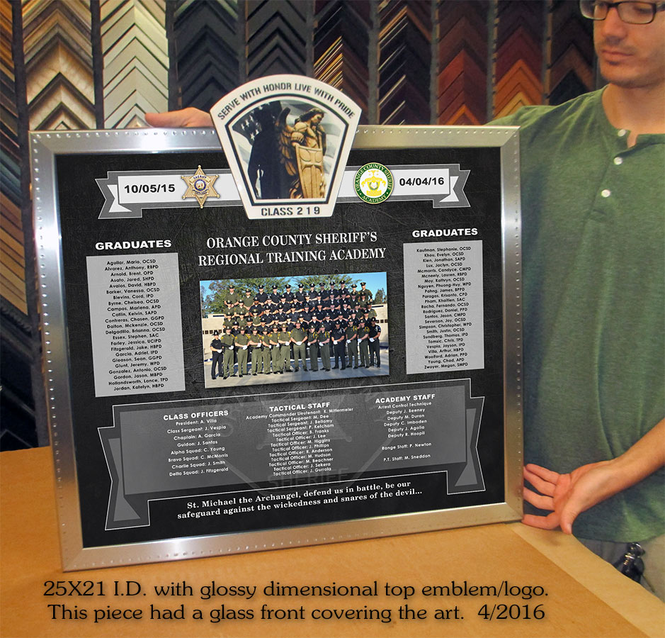 Orange County                             Sheriff's Academy Class #219 presentation                             forn Badge Frame