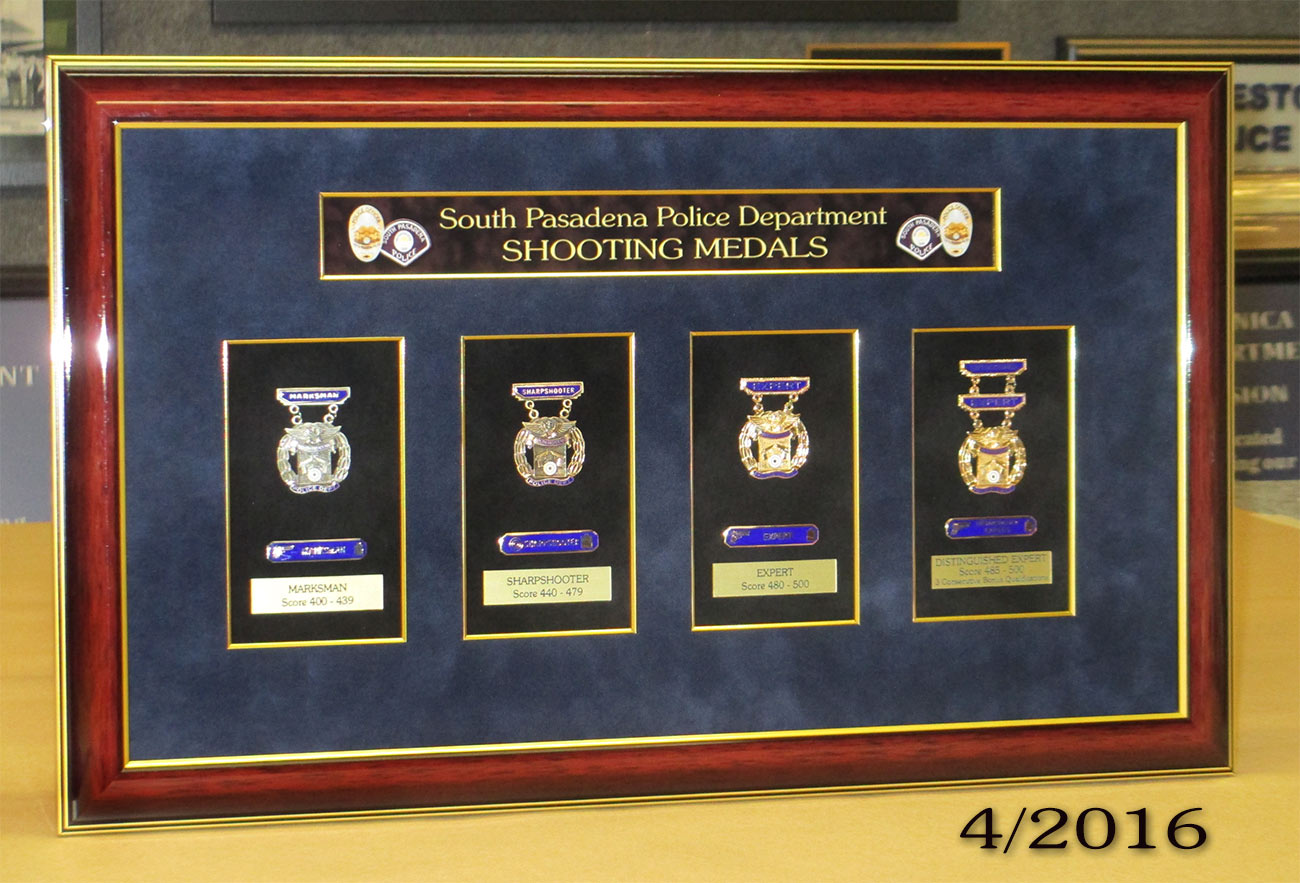 South                             Pasadena PD - Shooting Medals Presentation                             from Badge Frame