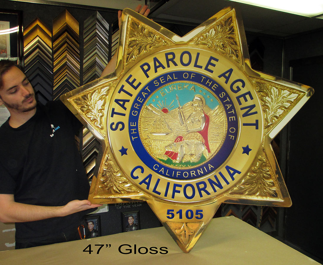 "State Parole Badge from Badge Frame - 47"" glossy"