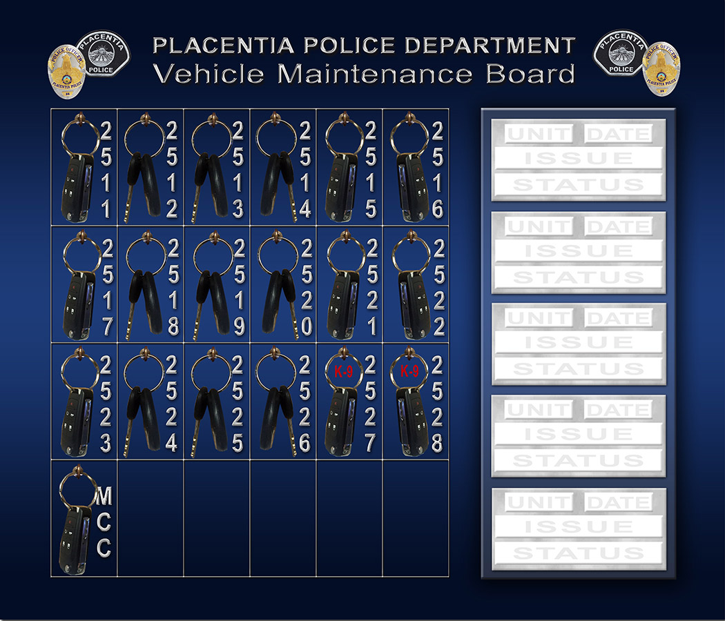 Placentia PD - Vehicle Maintence Board                             with dry erase section from Badge Frame