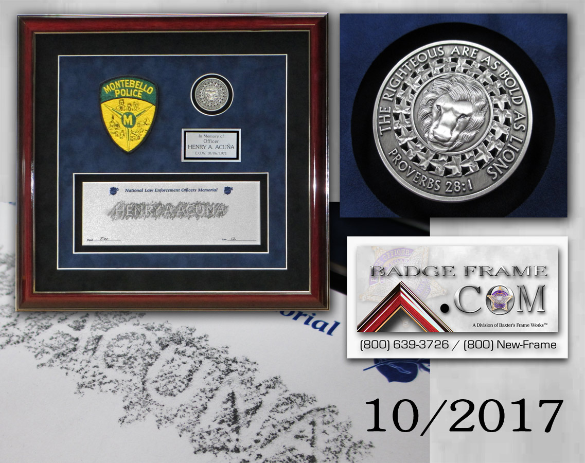 Montebello PD - Acuna Rubbing presentation from Badge Frame