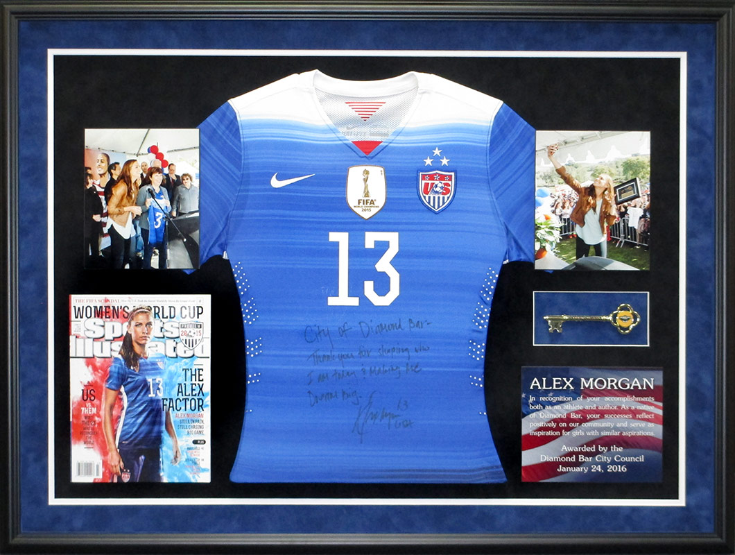 alex morgan,                             framed soccer jersey, badge frame, sports