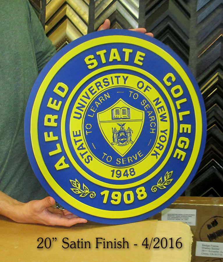 Alfred State                             University Podium Emblem from Badge Frame