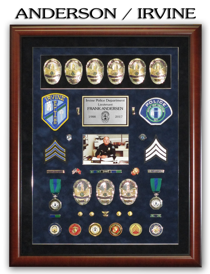 Anderson - Irvine PD Police Retirement Shadowbox from Badge Frame