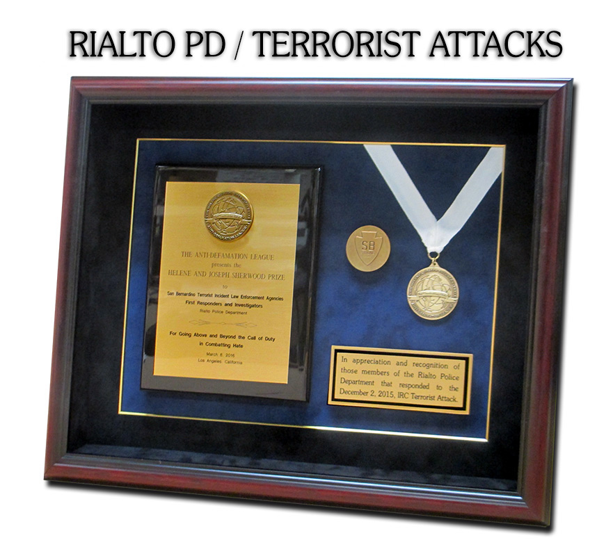 anti           defamation, badge frame, san bernadino