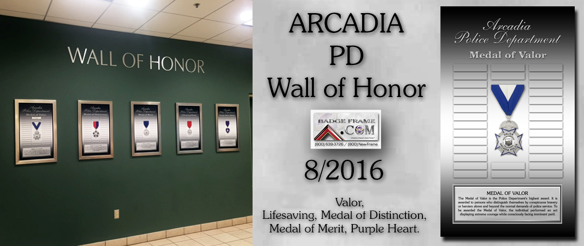 Arcadia PD - Wall of Honor Prepetual Plaques from Badge Frame