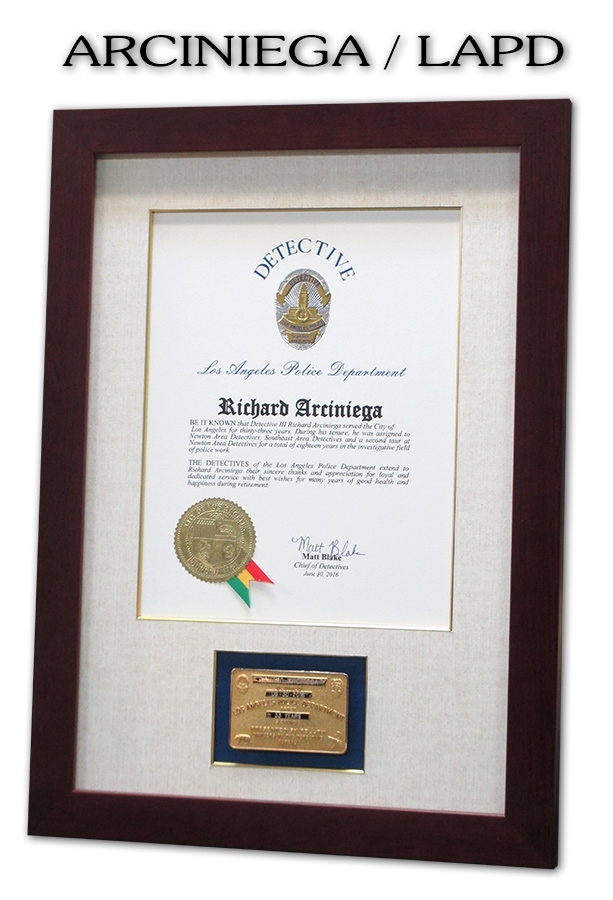 Arciniega - LAPD                     gold card frame from Badge Frame