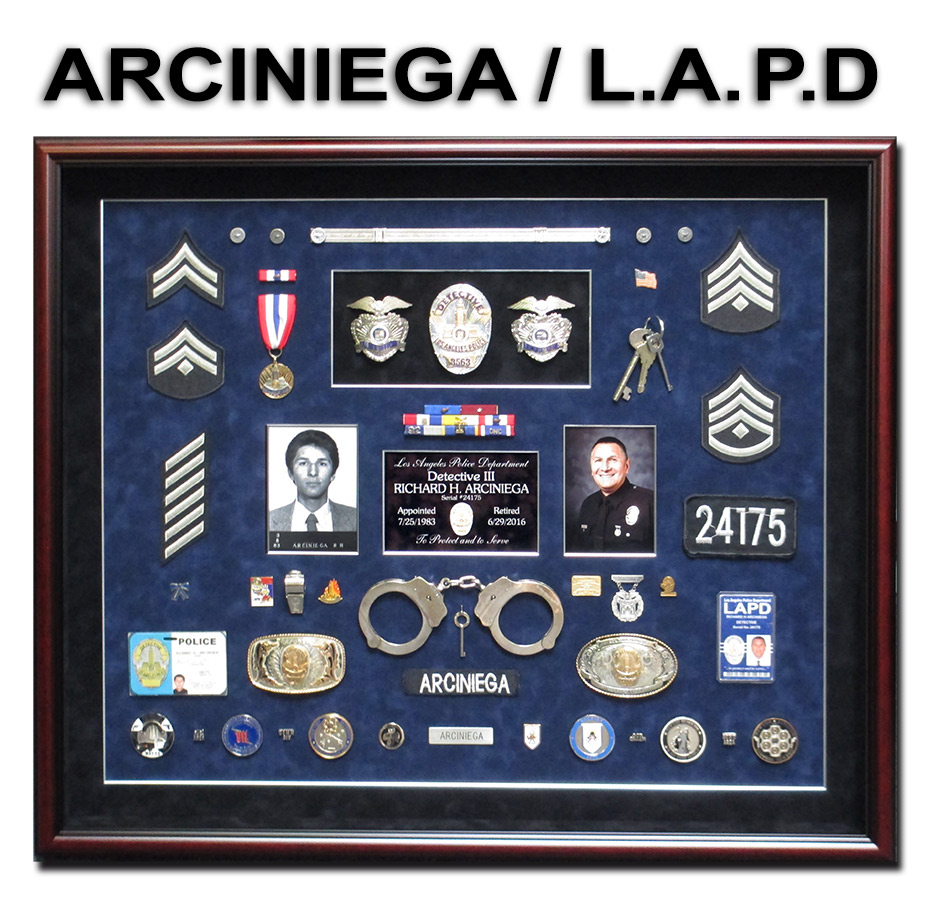 Arceniega - LAPD Police           Retirement Career Shadowbox from Badge Frame
