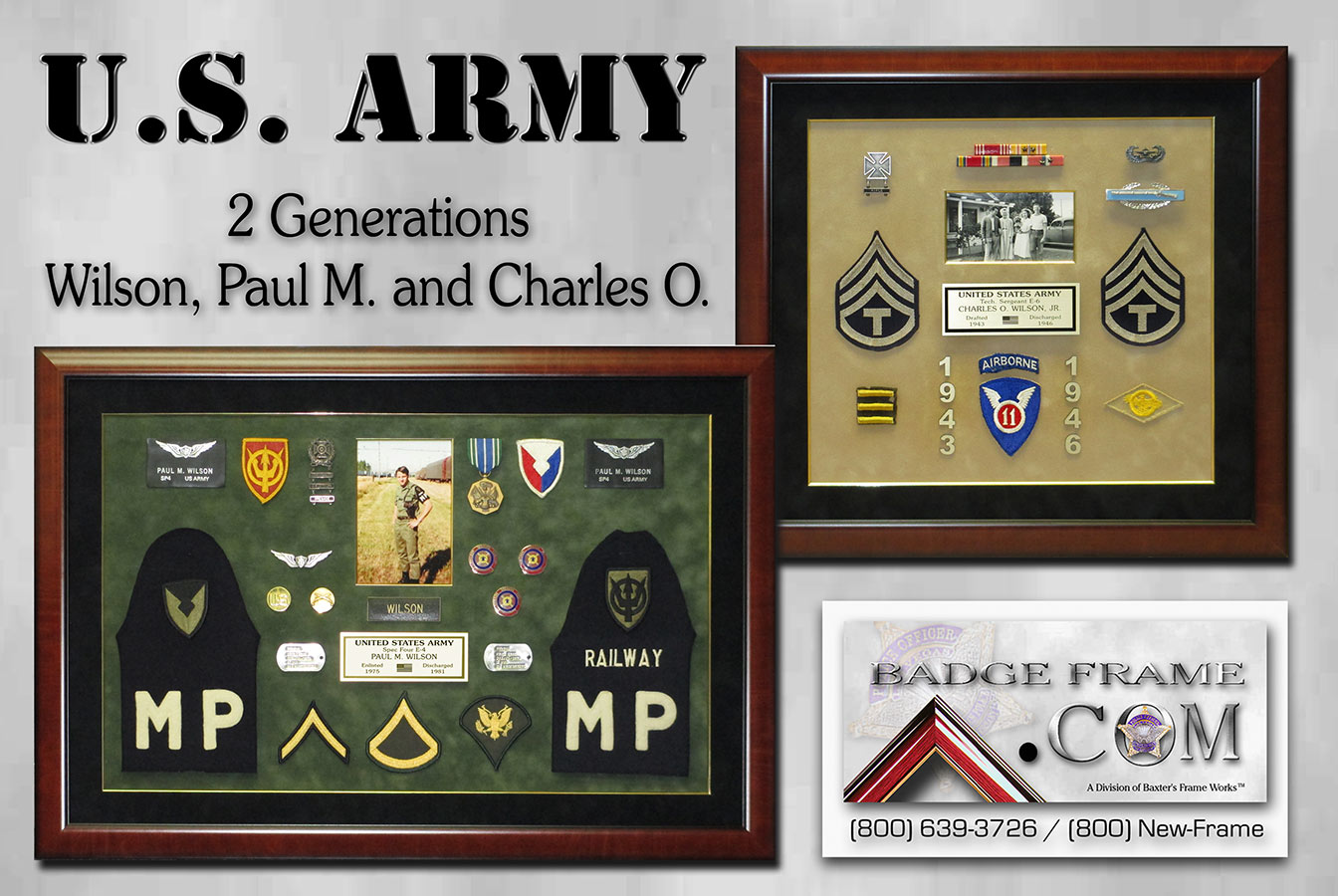 U.S. Army Shadowboxes from Badge Frame