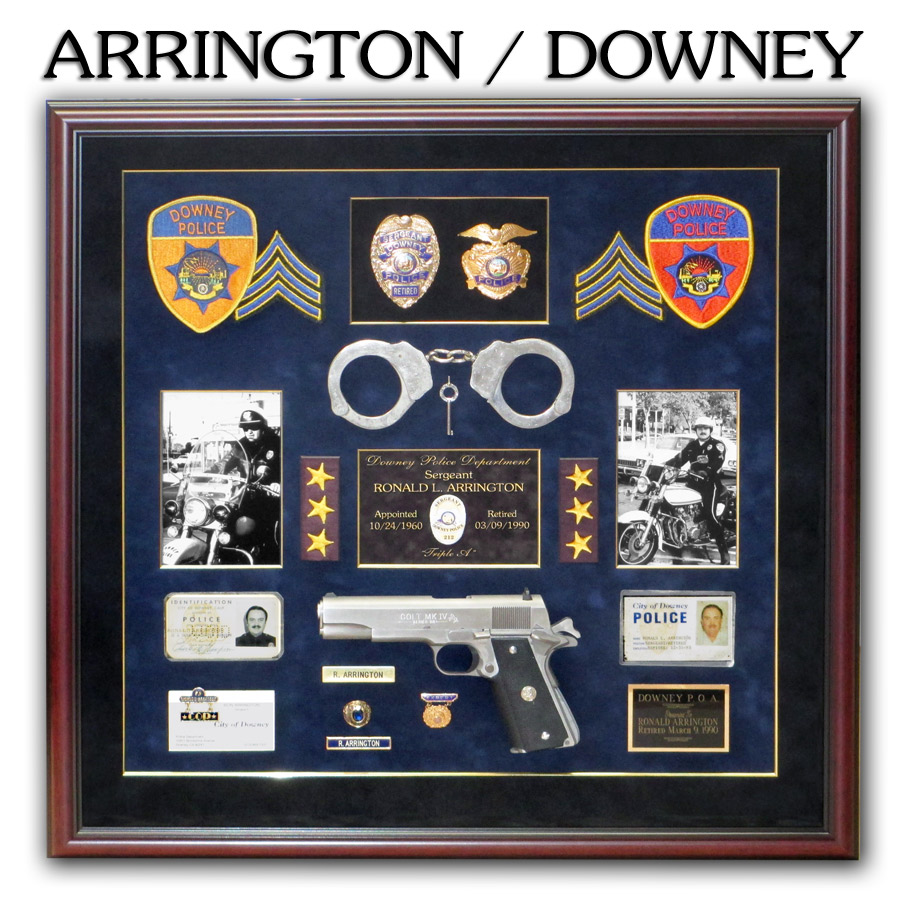 Arrington - Downey PD Police Retirement Shadowbox from Badge Frame