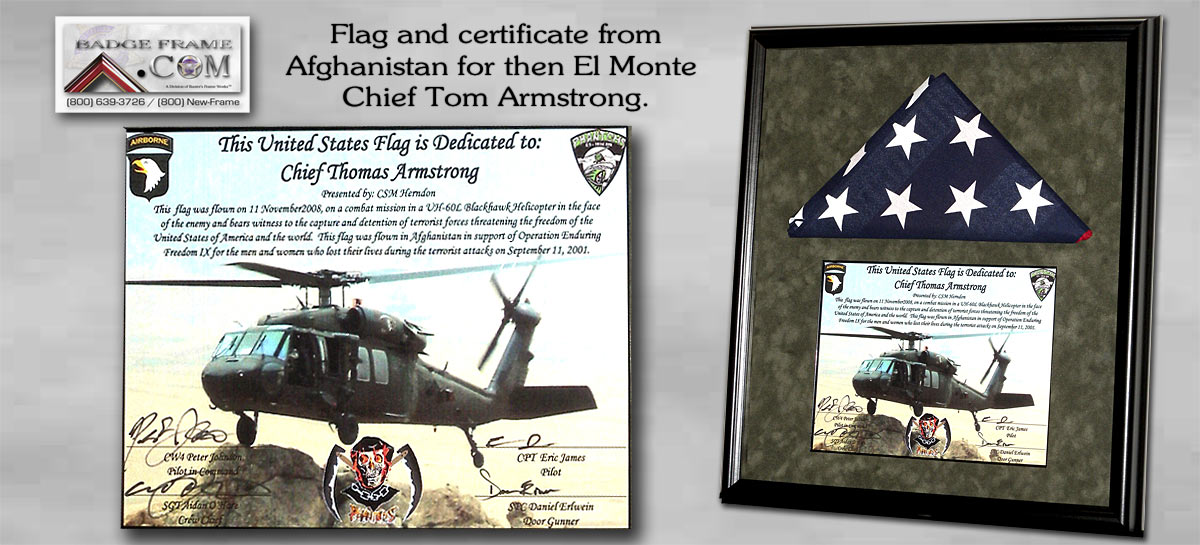 Afghanistan Mission Flag with cert