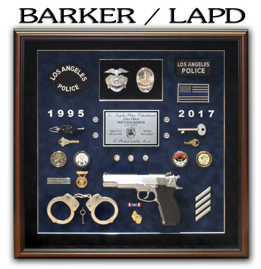 Barker / LAPD police retirement shadowbox from Badge Frame