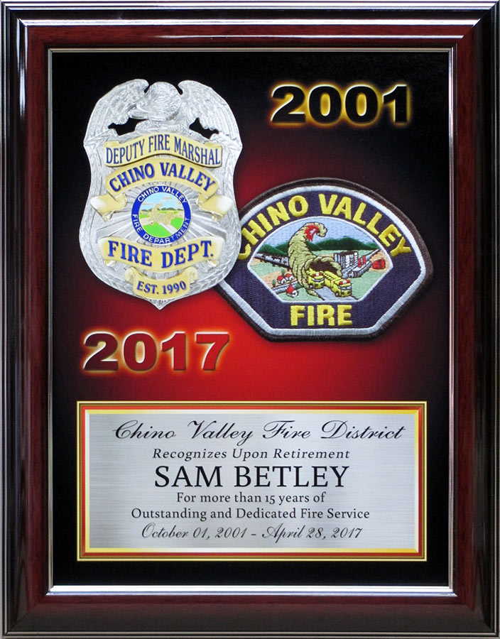 Betley - Chino Valley Fire Presentation from Badge Frame