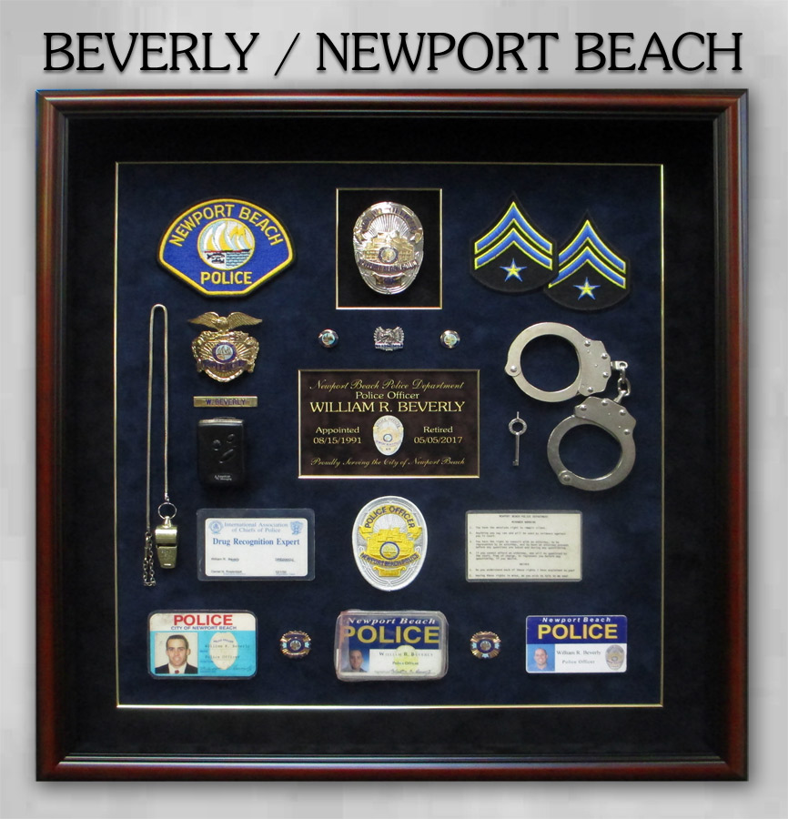Newprt Beach PD - Beverly -Police Retirement Shadowbox from Badge Frame