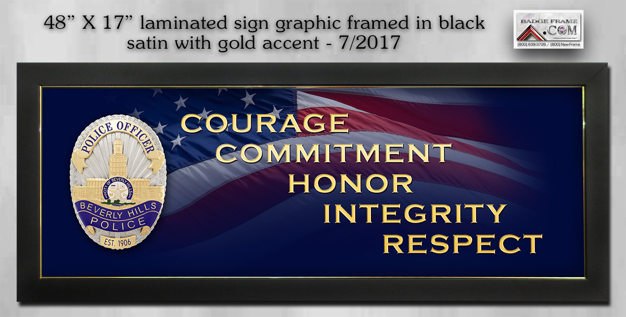 Beverly Hills PD sign framed by Badge Frame