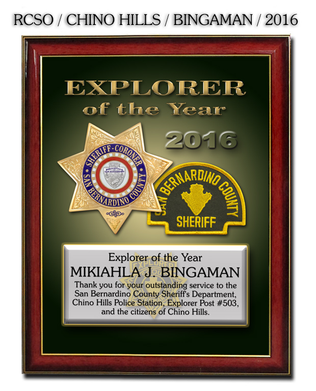 San Bernadino County Sheriff           Recognition Presentation For Bingaman From Badgeframe