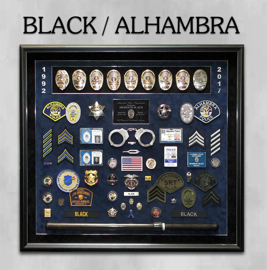 Alhambra PD - Black Retirement Presentation from Badge Frame
