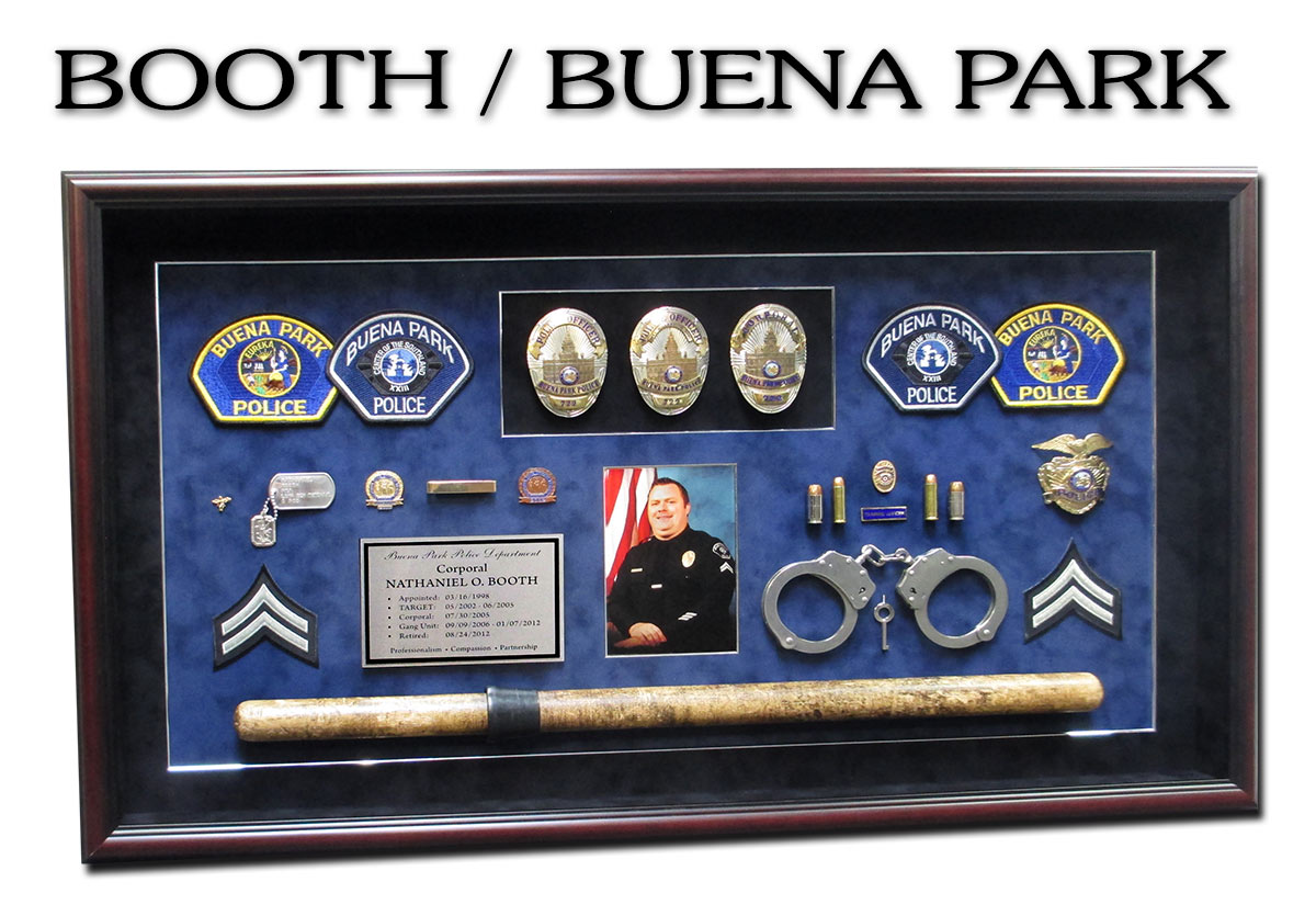 Booth -                 Buena Park PD Retirement Prersentation shadowbox from                 Badge Frame