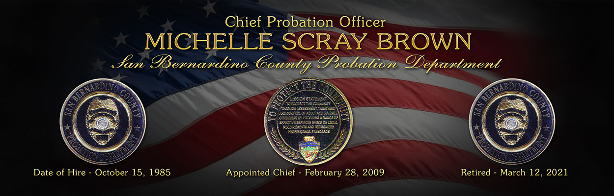 San Bernardino Probation Chief Brown Plaque from Badge Frame