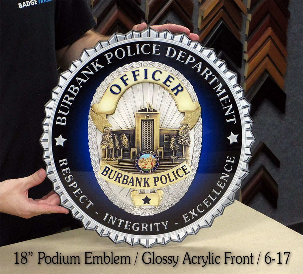 Burbank PD Podium Seal from Badge Frame