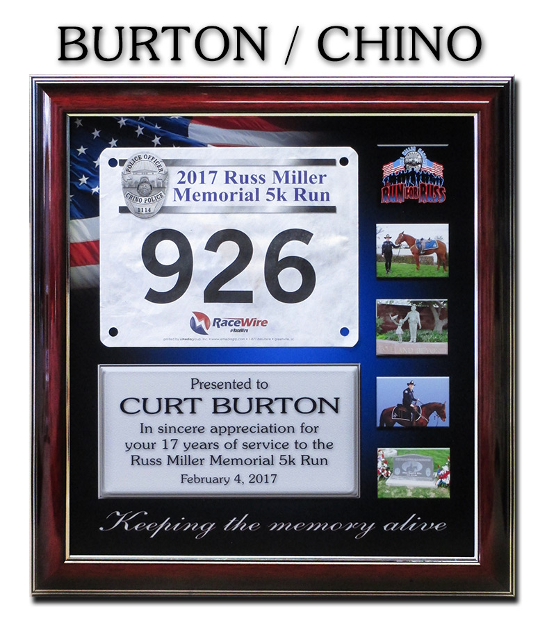 Police Recognition Plaque from Badge Frame for Curt Burton - Chino PD
