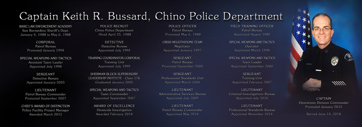 Chino PD / Bussard plaque