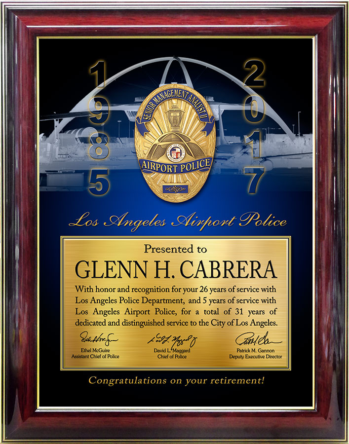 LAWA Retirement           Recognition Plaque from Badge Frame for Cabrera