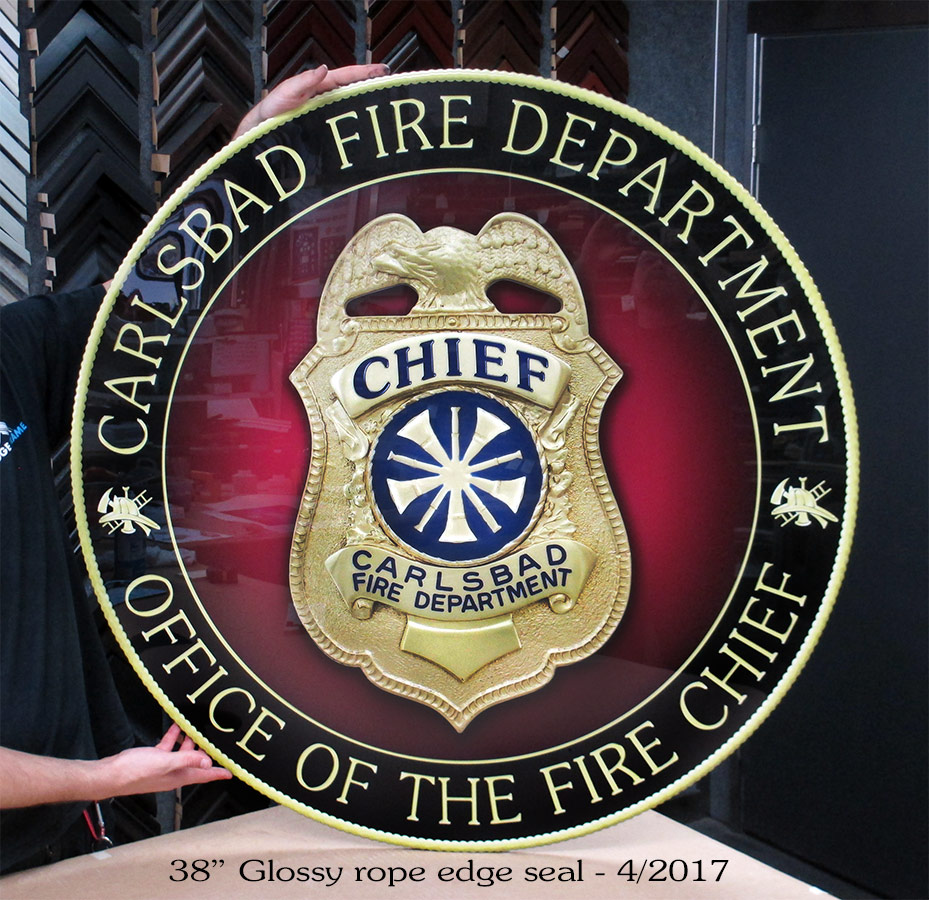 "Carlsbad Fire Department  38"" glossy seal emblem from Badge Frame"