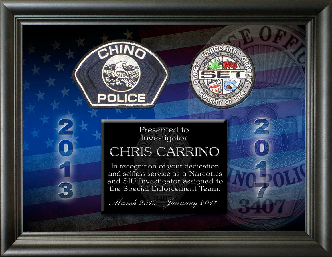 Police Recognition by Badge Frame for Carrino - Chino PD