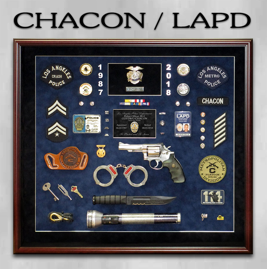 Chacon / LAPD Police Shadowbox from Badge Frame