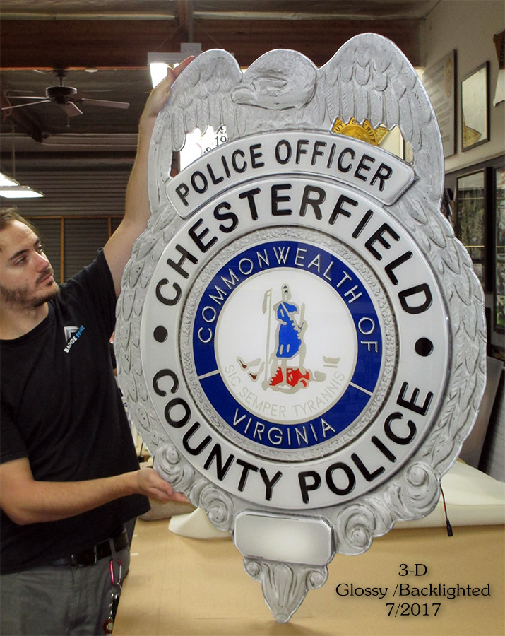 Chesterfield PD - Oversize 3-D backlighted badge from Badge Frame