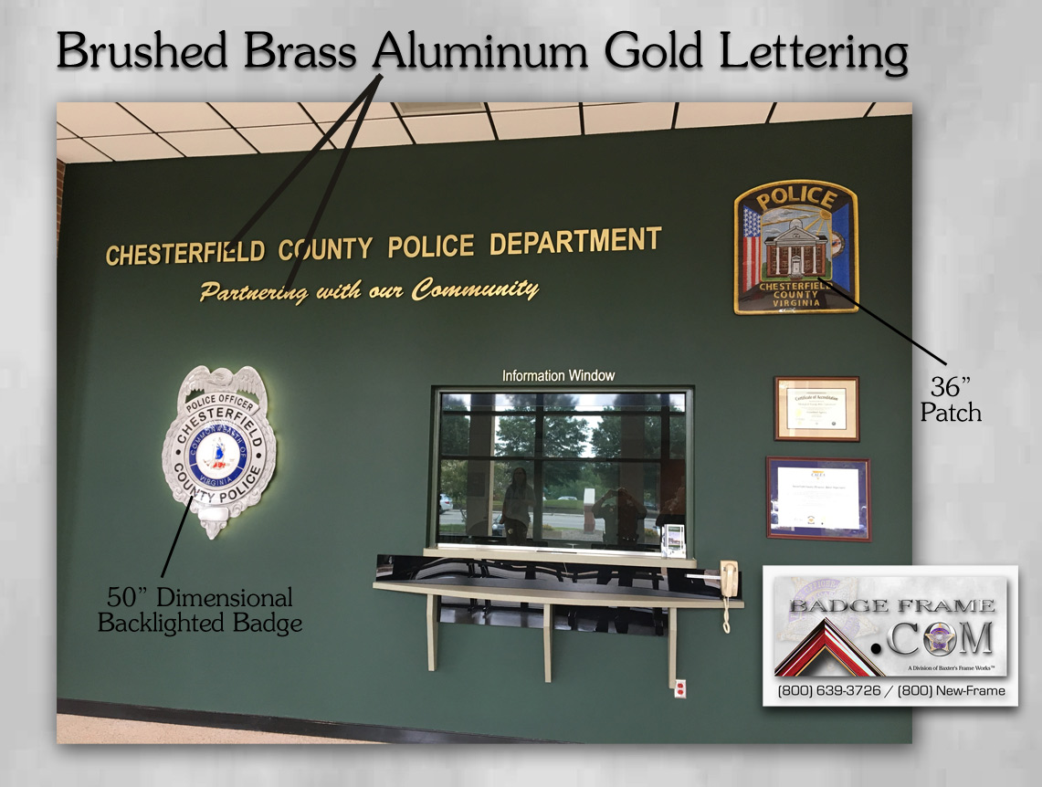 Chesterfield PD Lobby with oversize badge, patch and lettering from Badge Frame