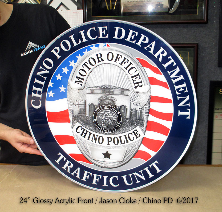 Chino PD - Traffic Division acrylic front Seal from Badge Frame