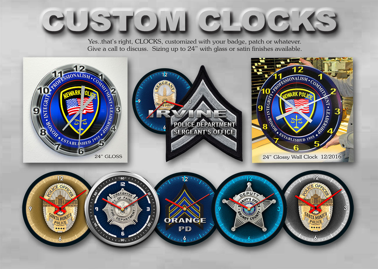 Police Clocks - Custom graphics on clocks from Badge Frame