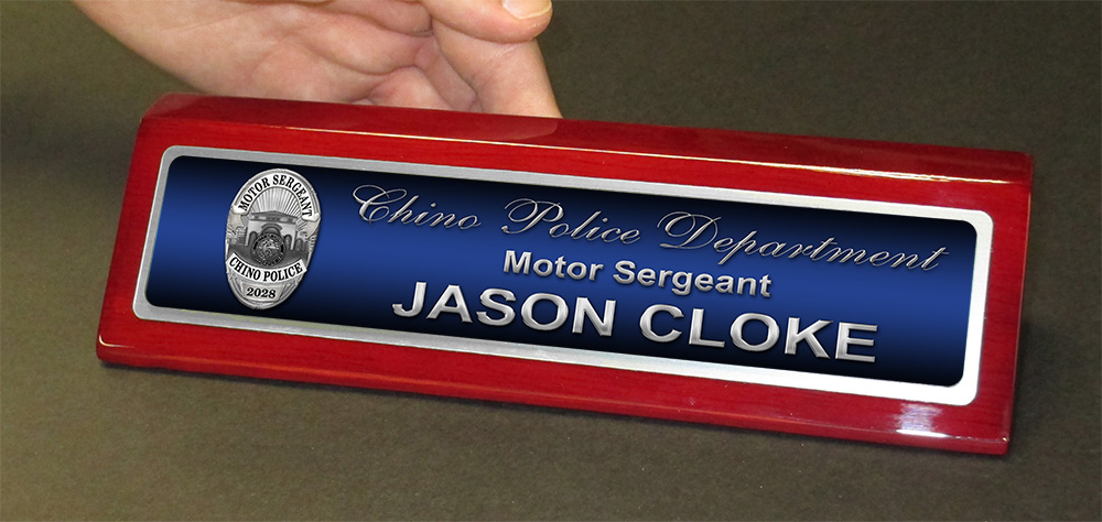 Jason Cloke - Chino PD - Desk Nameplate from Badge Frame