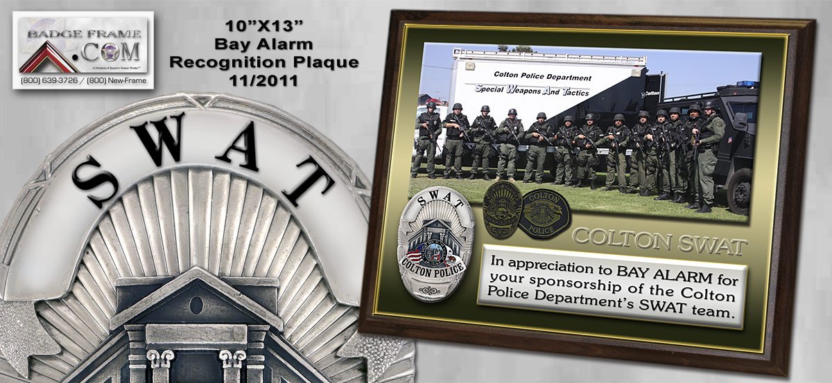 Colton SWAT Recognition Plaque