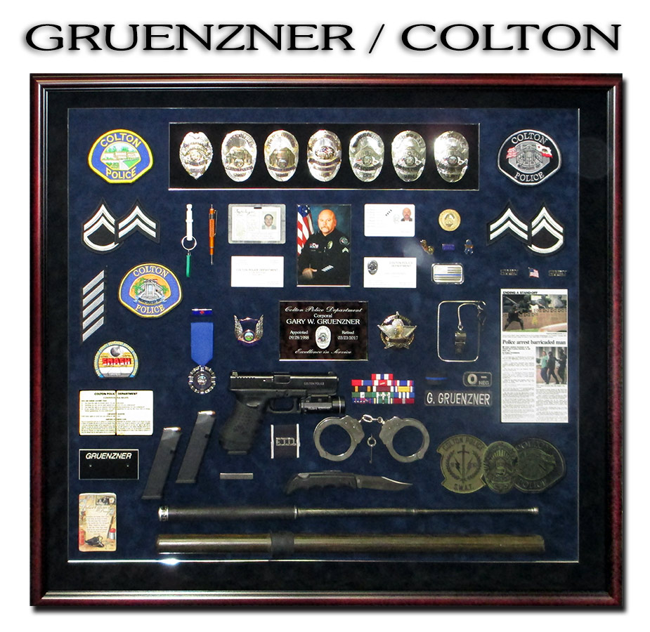 Gruenzner - Colton PD Police Retirement Shadowbox from Badge Frame