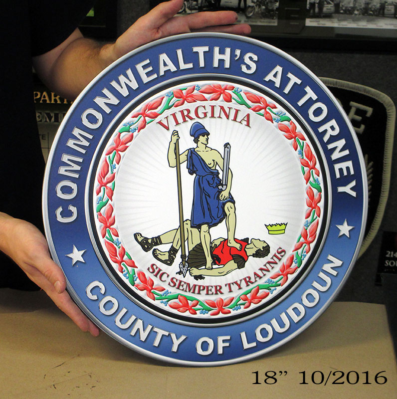 Commonwealth's Attorney - County of Loudoun - Podium Seal from Badge Frame 10-2016