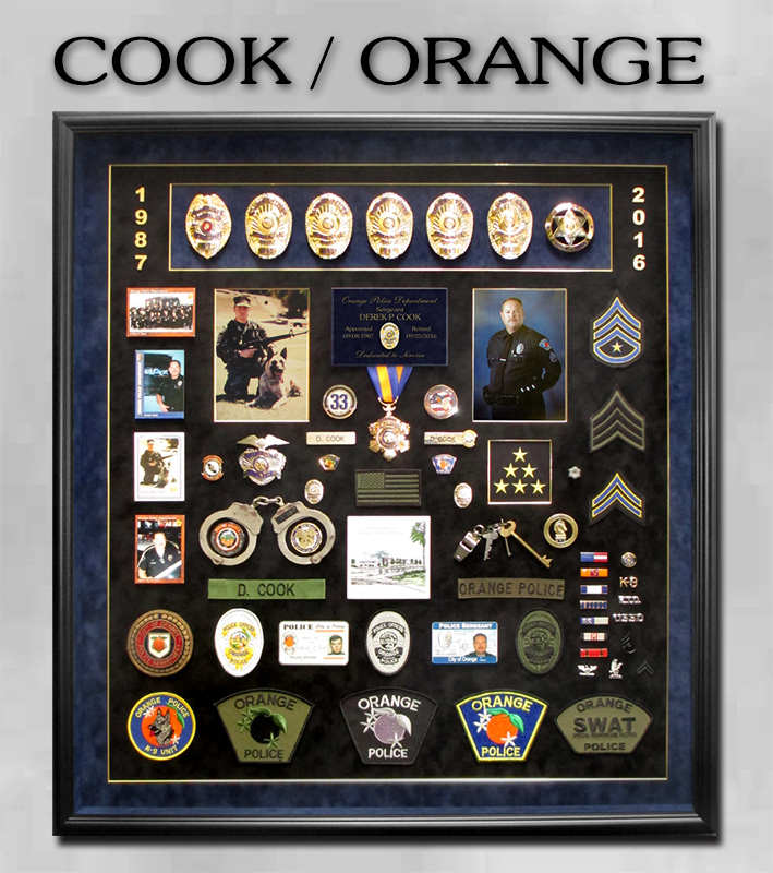 Cook - Orange                             PD retirement shadowbox presentation from                             Badge Frame