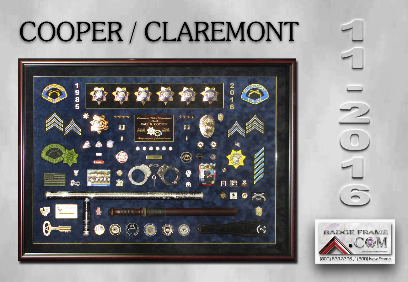 Chief Cooper -             Claremont - Police Chief Retirement Presentation from Badge             Frame 11-2016