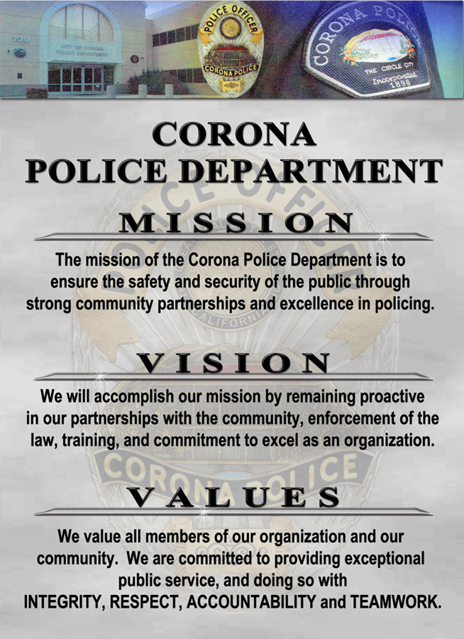 Corona PD Mission, Vision, Values