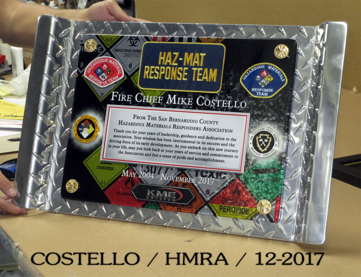 Fire Chief Mike Costello retirement presentation from Badge Frame