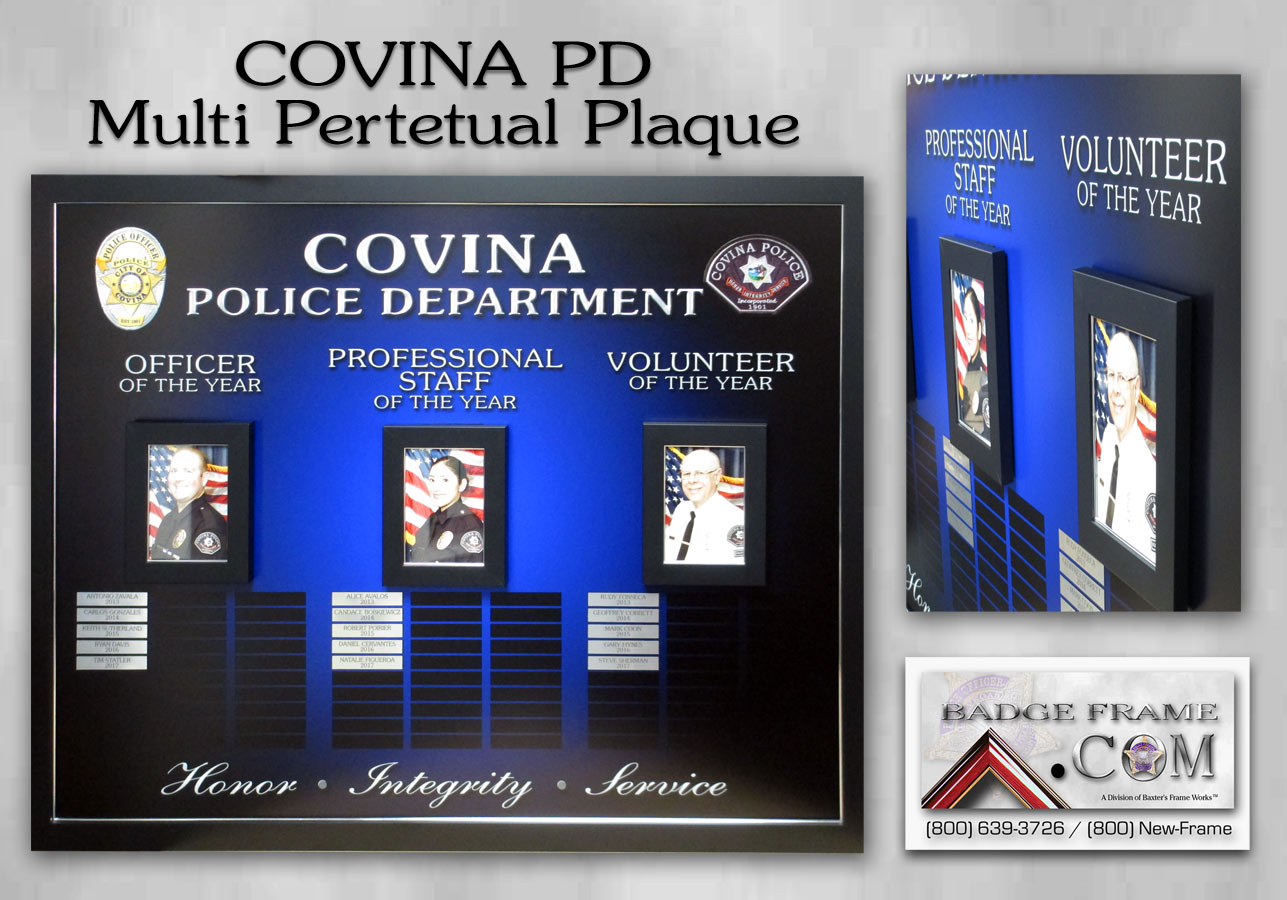 Covina  PD - Multi Perpetual Plaque from Badge Frame