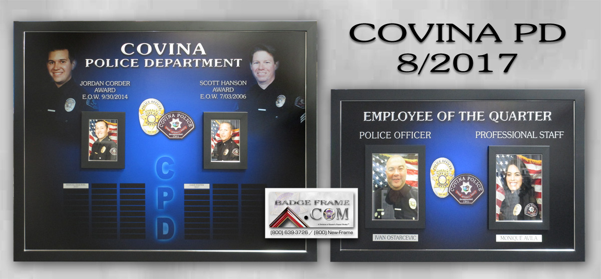Covina PD Plaques from Badge Frame