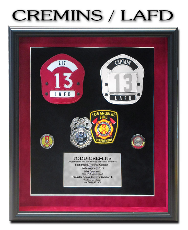 Cremins - LAFD Fire retirement presentation from Badge Frame