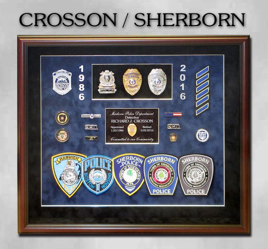 Crosson /             Sherborn PD police shadowbox presentation from Badge Frame