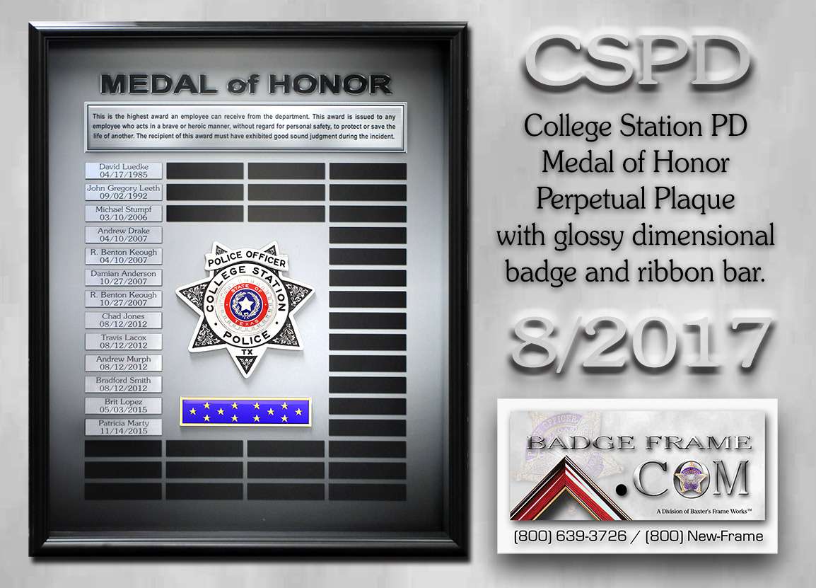 College Station PD - Medal of Honor Perpetual Plaque from Badge Frame