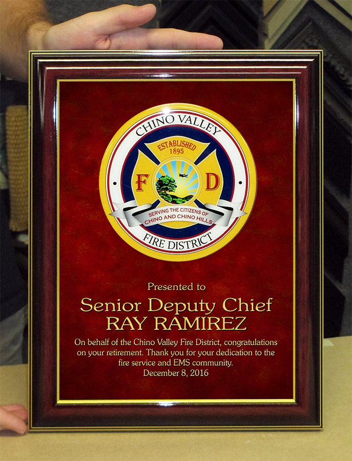 Chino Valley Fire - Ramirez RETIREMENT presentation from Badge Frame