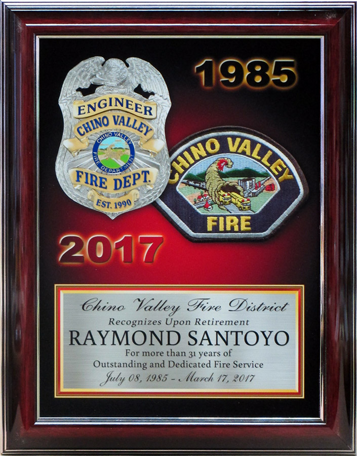 Fire Department           Retirement Recognition from Badge Frame for Chino Valley Fire